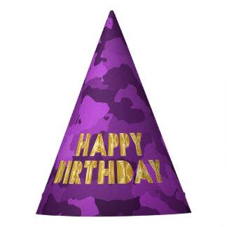 Happy Birthday on Purple Camo Party Hat