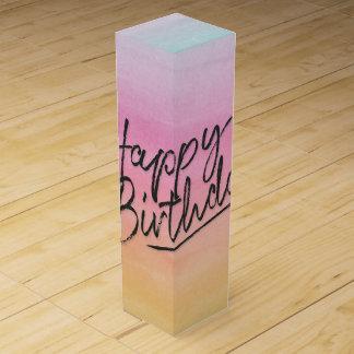happy birthday on rainbow wine box