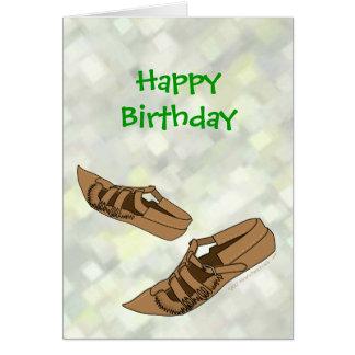 Happy Birthday Opanke Folk Dance Shoes for Dancers Card