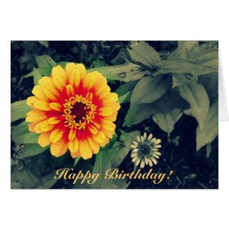 Happy Birthday Orange Dahlia Vibrant Close Up Card