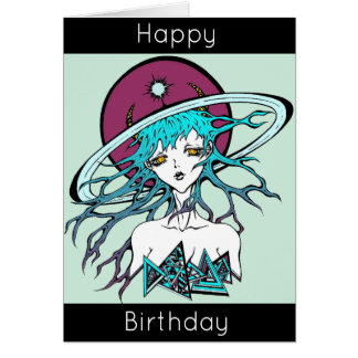 Happy birthday original manga space card
