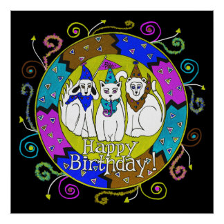 Happy Birthday Party Animals Poster Cat Dog Lion