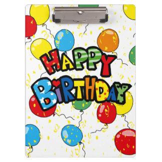 happy birthday party balloons clipboard