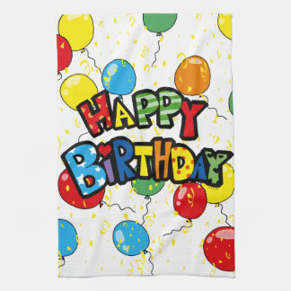 happy birthday party balloons kitchen towel