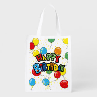 happy Birthday party balloons Reusable Grocery Bag