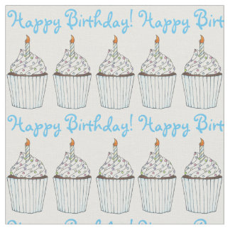 Happy Birthday Party Blue Cupcake w/ Candle Cake Fabric