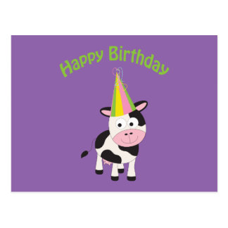 Happy Birthday! Party Cow Postcard