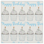 Happy Birthday Party Cupcake w/ Candle Cake Fabric