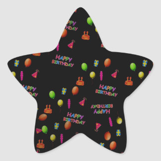 Happy Birthday Party Decor Balloons Hat Cake Text Star Sticker