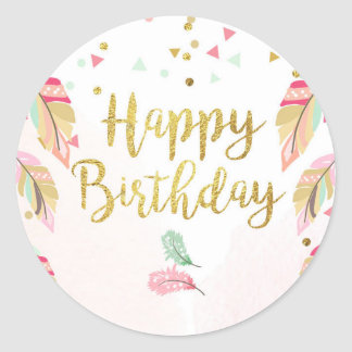 Happy birthday Party Favor Tags Sticker Pink Gold