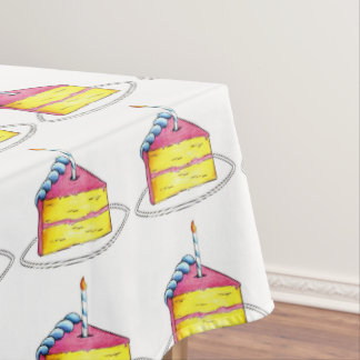 Happy Birthday Party Layer Cake Slice Pattern Tablecloth