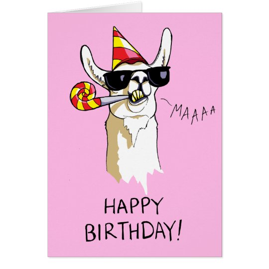 Happy Birthday Party Llama Card with Sunglasses