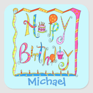Happy Birthday Party Name Personalized Yellow Square Sticker