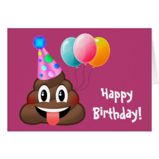 Happy Birthday Party Poop Emoji Card