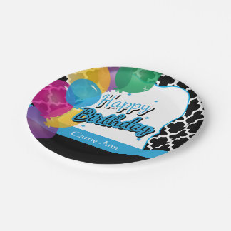 Happy Birthday Party with Balloons in Blue Paper Plate