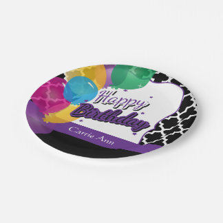 Happy Birthday Party with Balloons in Purple Paper Plate