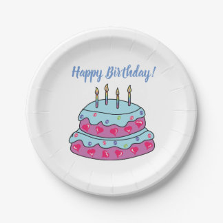 Happy Birthday Pastel Color Paper Plates 7""