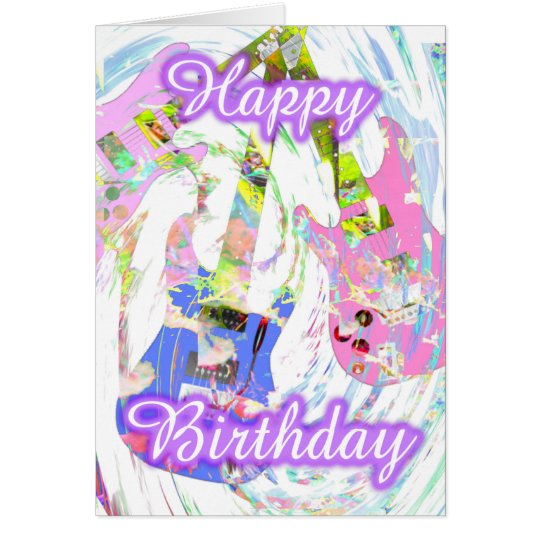 Happy Birthday Pastel guitar by Valxart Card
