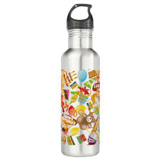 Happy Birthday Pattern Illustration 710 Ml Water Bottle