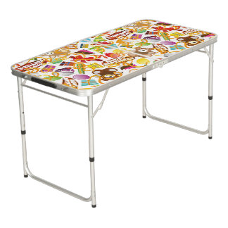 Happy Birthday Pattern Illustration Beer Pong Table