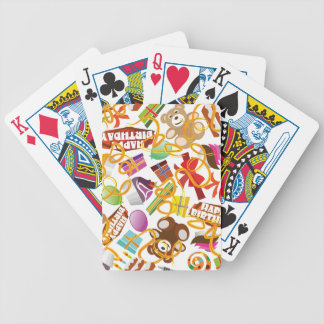 Happy Birthday Pattern Illustration Bicycle Playing Cards