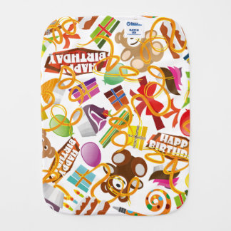 Happy Birthday Pattern Illustration Burp Cloth