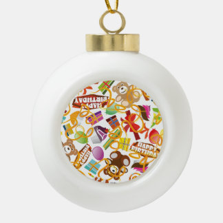Happy Birthday Pattern Illustration Ceramic Ball Christmas Ornament