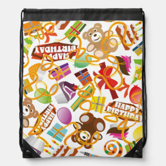 Happy Birthday Pattern Illustration Drawstring Bag