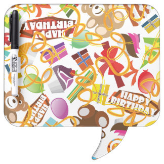 Happy Birthday Pattern Illustration Dry Erase Board