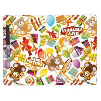 Happy Birthday Pattern Illustration Dry Erase Board With Keychain Holder