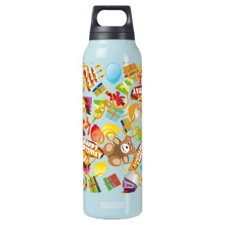 Happy Birthday Pattern Illustration Insulated Water Bottle