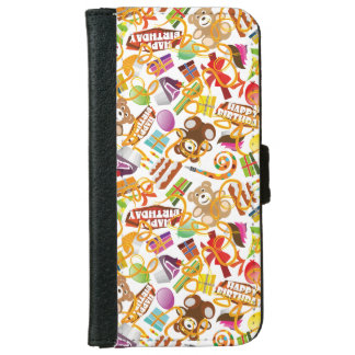 Happy Birthday Pattern Illustration iPhone 6 Wallet Case