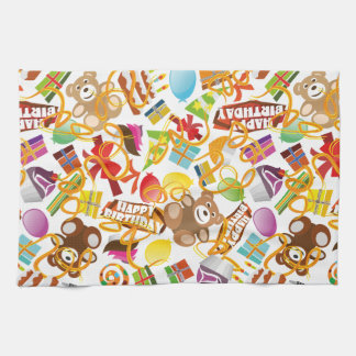 Happy Birthday Pattern Illustration Kitchen Towel