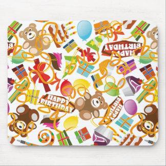 Happy Birthday Pattern Illustration Mouse Pad