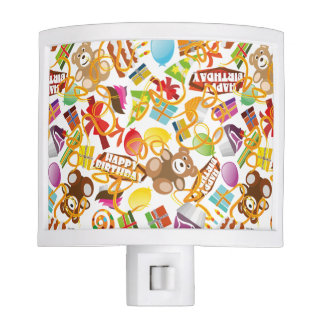 Happy Birthday Pattern Illustration Night Light