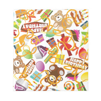 Happy Birthday Pattern Illustration Notepad