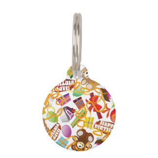 Happy Birthday Pattern Illustration Pet ID Tag
