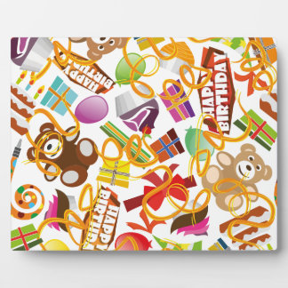 Happy Birthday Pattern Illustration Plaque