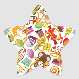 Happy Birthday Pattern Illustration Star Sticker
