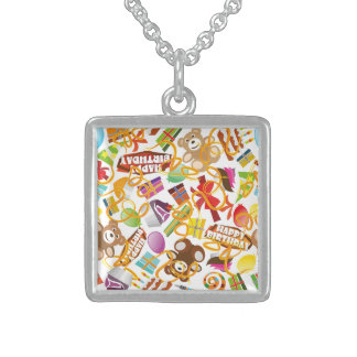 Happy Birthday Pattern Illustration Sterling Silver Necklace
