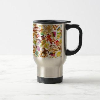 Happy Birthday Pattern Illustration Travel Mug