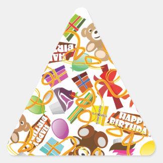 Happy Birthday Pattern Illustration Triangle Sticker