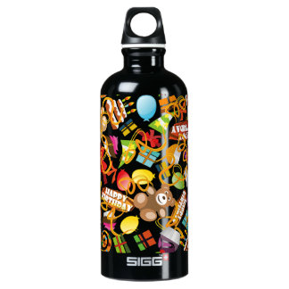 Happy Birthday Pattern Illustration Water Bottle