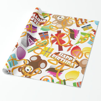 Happy Birthday Pattern Illustration Wrapping Paper