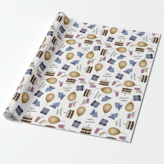 Happy Birthday Pattern in Navy Blue Wrapping Paper