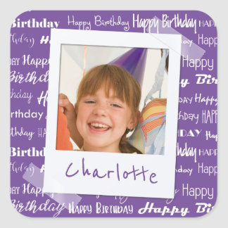Happy Birthday Pattern Purple Party Kids Photo Square Sticker