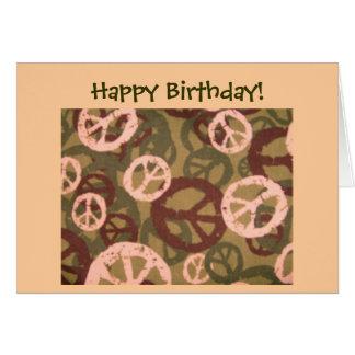 Happy Birthday!-Peace Signs/Camo Look Card