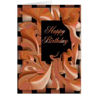 Happy Birthday Peach Swirl Card