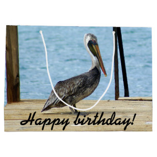Happy Birthday! Pelican on the pier photo, Curacao Large Gift Bag
