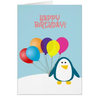 Happy Birthday, Penguin and Balloons Card
